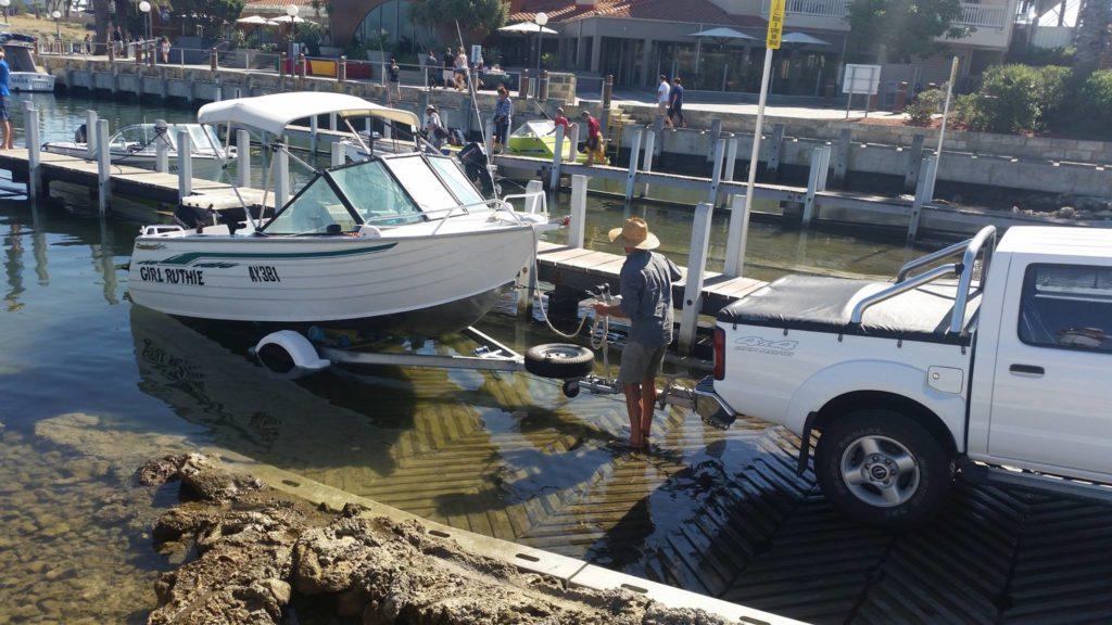 Launching a boat at Mindarie Marina
