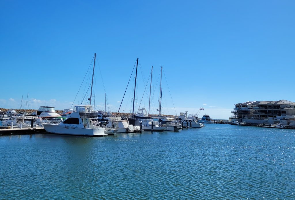 Boats moored within Mindarie Marina